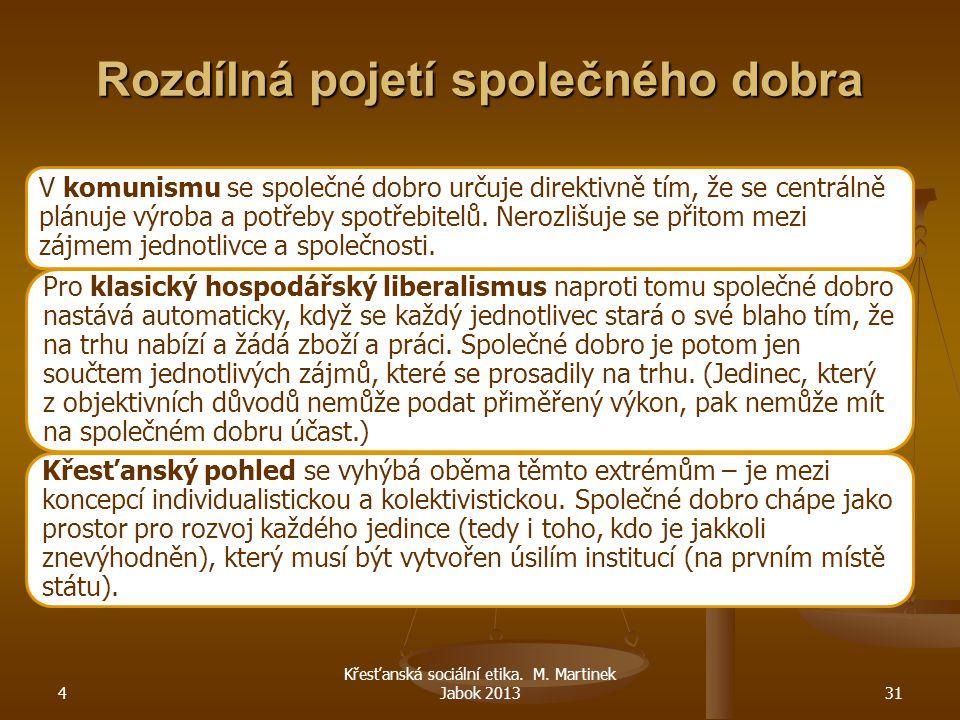 4 Křesťanská sociální etika. M. Martinek Jabok 201331 Rozdílná pojetí společného dobra V komunismu se společné dobro určuje direktivně tím, že se cent