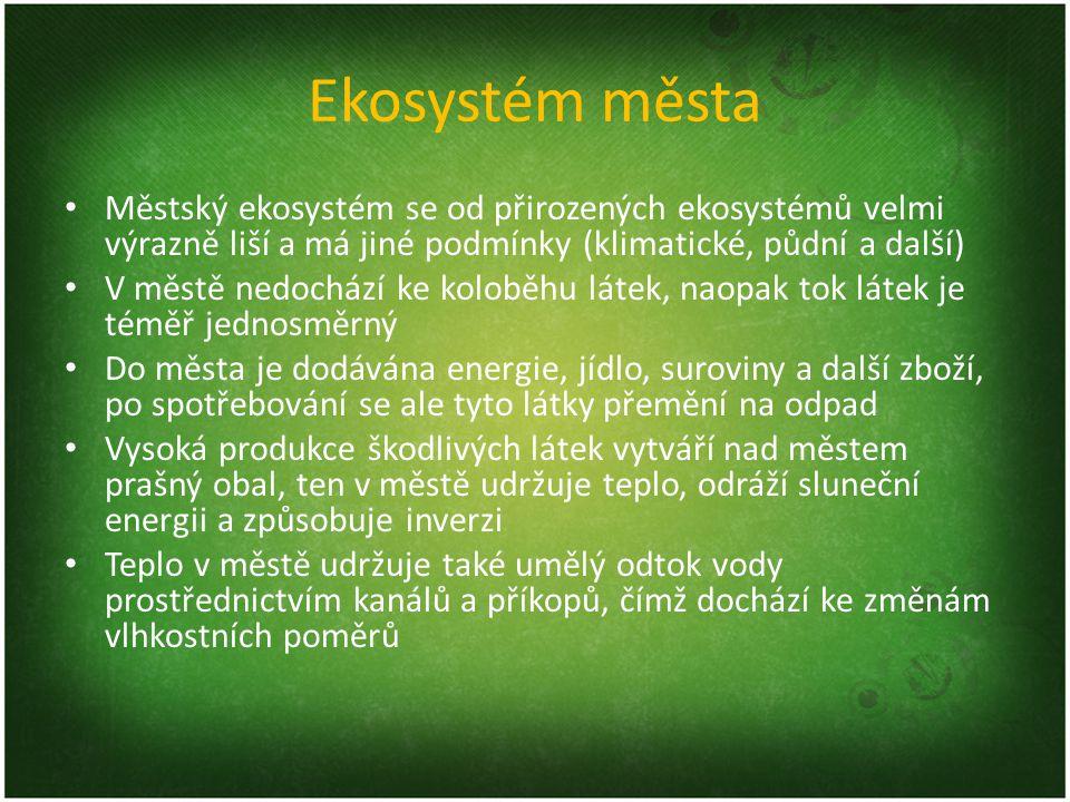 Ekosystém města Městský ekosystém se od přirozených ekosystémů velmi výrazně liší a má jiné podmínky (klimatické, půdní a další) V městě nedochází ke