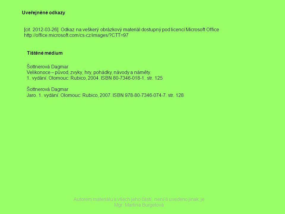 Uveřejněné odkazy [cit.2012-03-26].