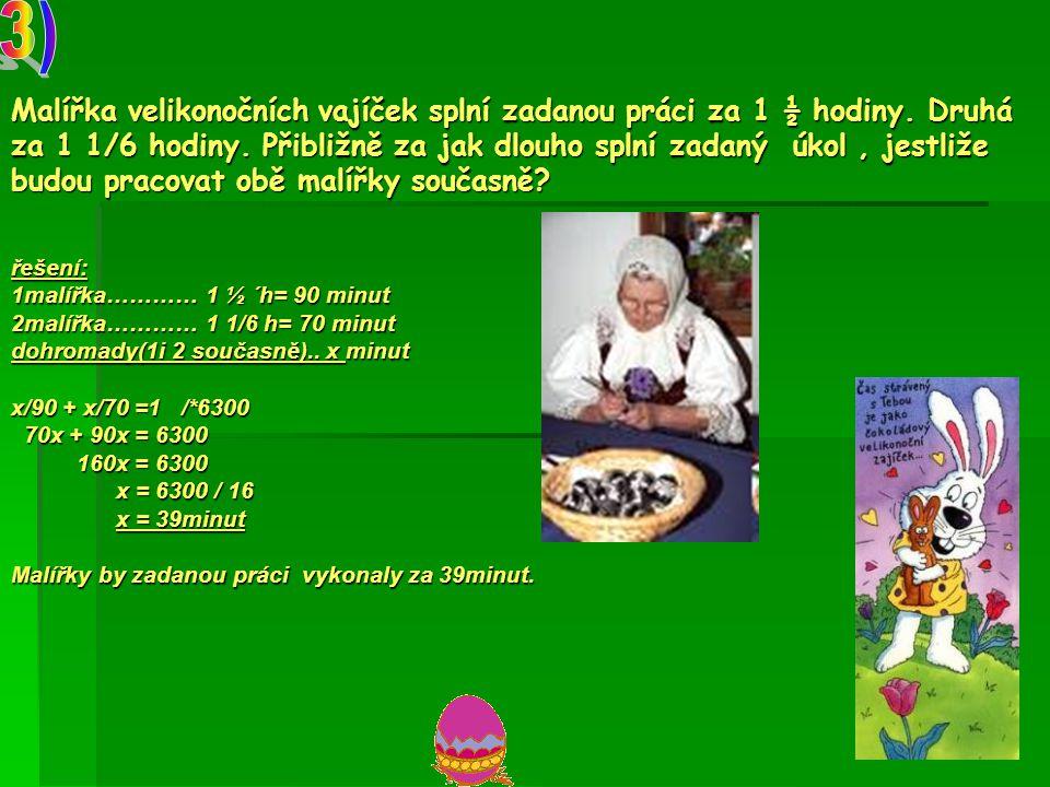 Malířka velikonočních vajíček splní zadanou práci za 1 ½ hodiny.