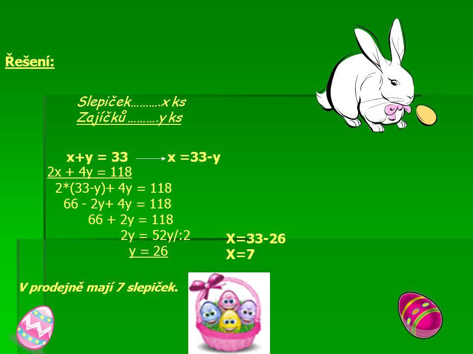 Řešení: Slepiček……….x ks Zajíčků ……….y ks x+y = 33 x =33-y 2x + 4y = 118 2*(33-y)+ 4y = 118 66 - 2y+ 4y = 118 66 + 2y = 118 2y = 52y/:2 y = 26 X=33-26