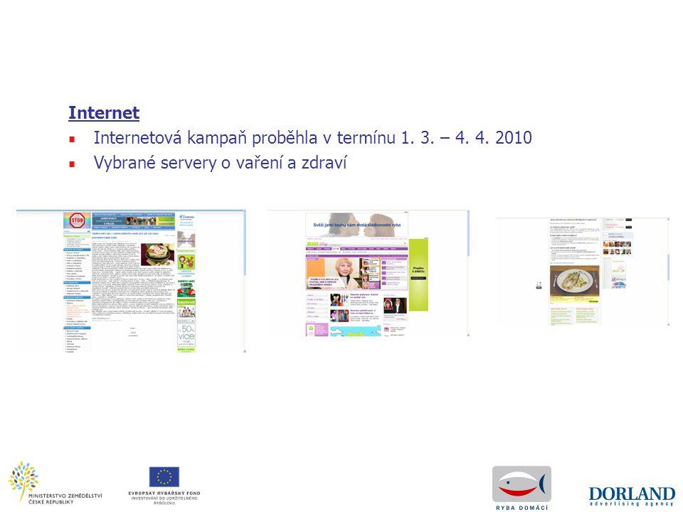 Internet ■ Internetová kampaň proběhla v termínu 1. 3. – 4. 4. 2010 ■ Vybrané servery o vaření a zdraví