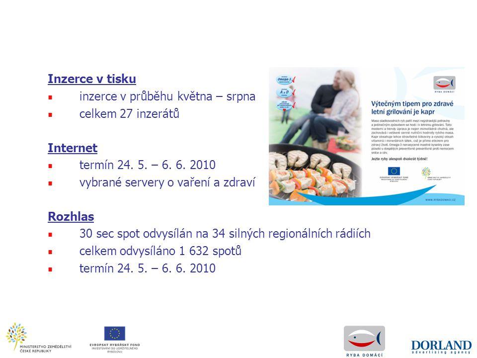 Inzerce v tisku ■ inzerce v průběhu května – srpna ■ celkem 27 inzerátů Internet ■ termín 24. 5. – 6. 6. 2010 ■ vybrané servery o vaření a zdraví Rozh