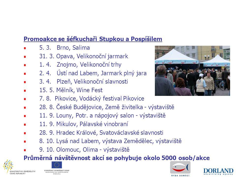 Promoakce se šéfkuchaři Stupkou a Pospíšilem ■ 5. 3. Brno, Salima ■ 31. 3. Opava, Velikonoční jarmark ■ 1. 4. Znojmo, Velikonoční trhy ■ 2. 4. Ústí na