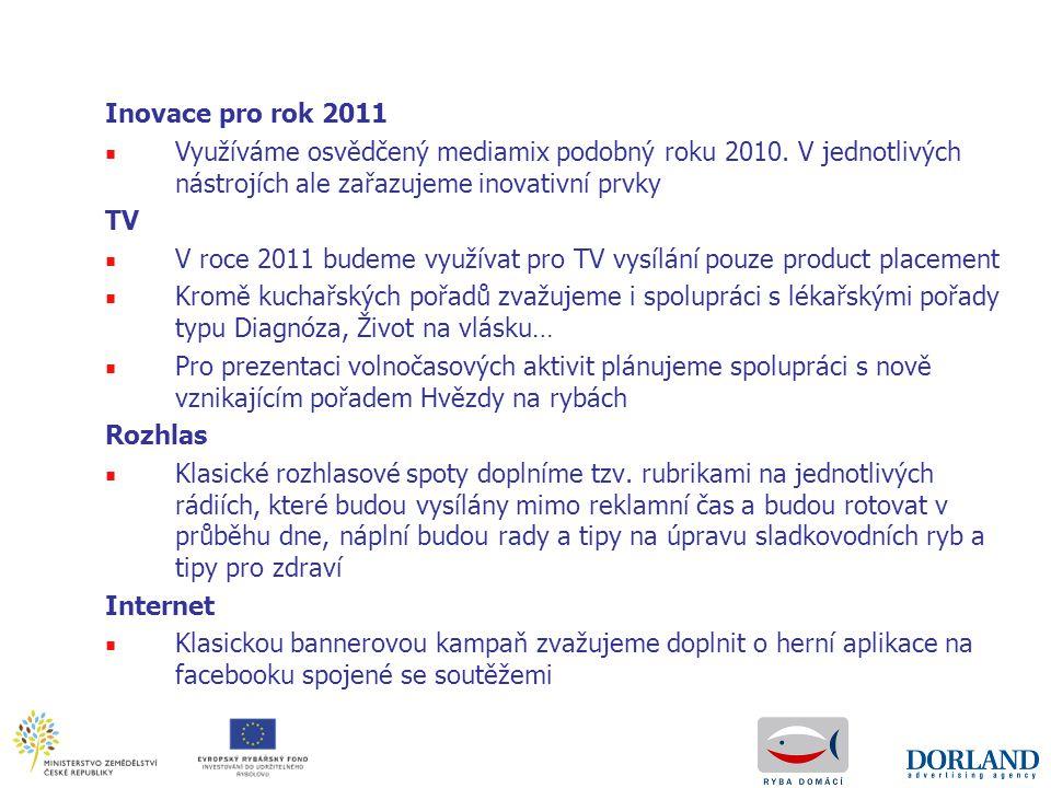 Inovace pro rok 2011 ■ Využíváme osvědčený mediamix podobný roku 2010. V jednotlivých nástrojích ale zařazujeme inovativní prvky TV ■ V roce 2011 bude