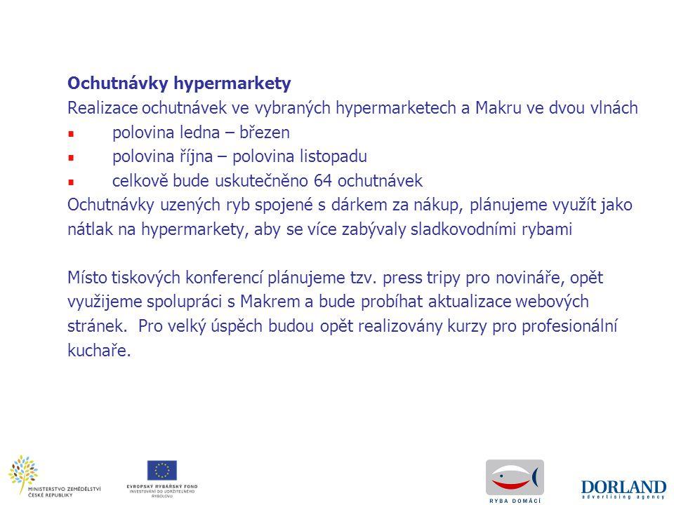 Ochutnávky hypermarkety Realizace ochutnávek ve vybraných hypermarketech a Makru ve dvou vlnách ■ polovina ledna – březen ■ polovina října – polovina