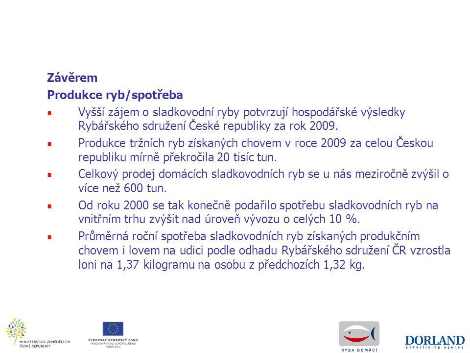 Závěrem Produkce ryb/spotřeba ■ Vyšší zájem o sladkovodní ryby potvrzují hospodářské výsledky Rybářského sdružení České republiky za rok 2009. ■ Produ
