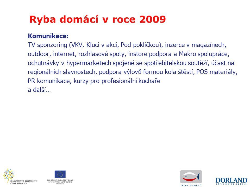 Ryba domácí v roce 2009 Komunikace: TV sponzoring (VKV, Kluci v akci, Pod pokličkou), inzerce v magazínech, outdoor, internet, rozhlasové spoty, insto