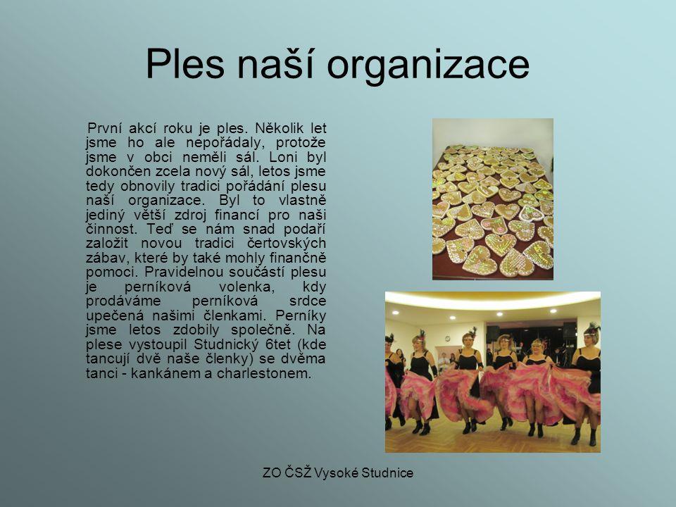 ZO ČSŽ Vysoké Studnice Ples naší organizace První akcí roku je ples. Několik let jsme ho ale nepořádaly, protože jsme v obci neměli sál. Loni byl doko
