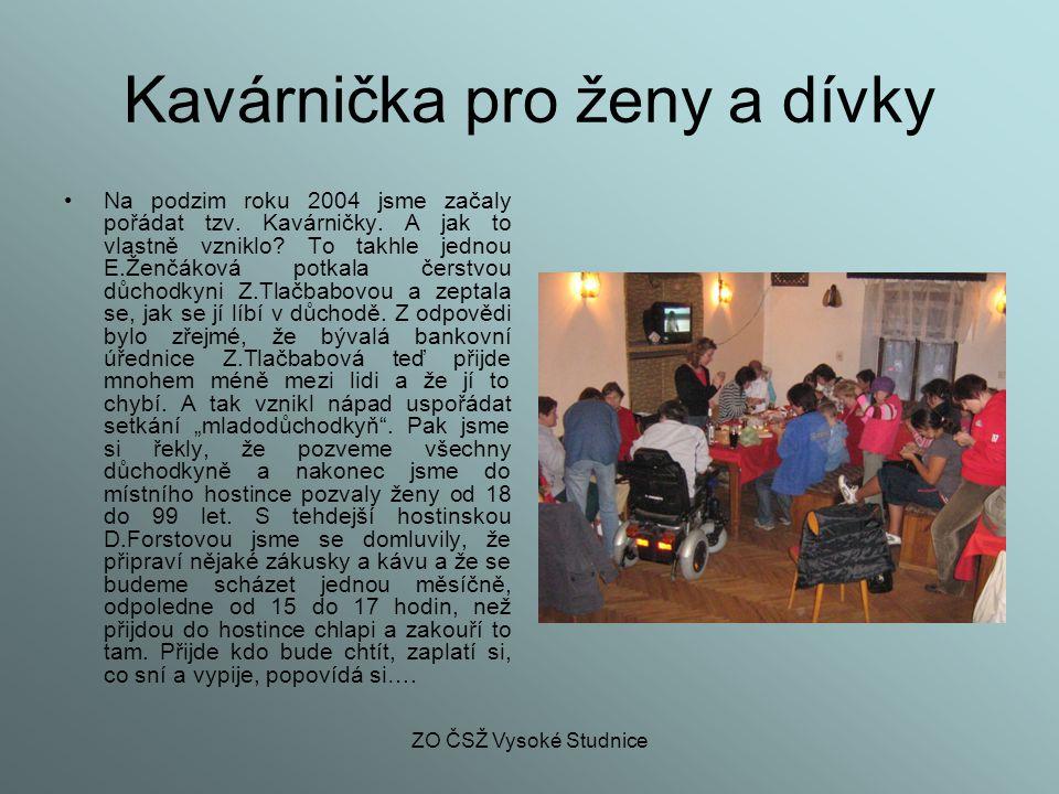 ZO ČSŽ Vysoké Studnice Kavárnička podruhé První zimu Kavárnička fungovala tímto způsobem.