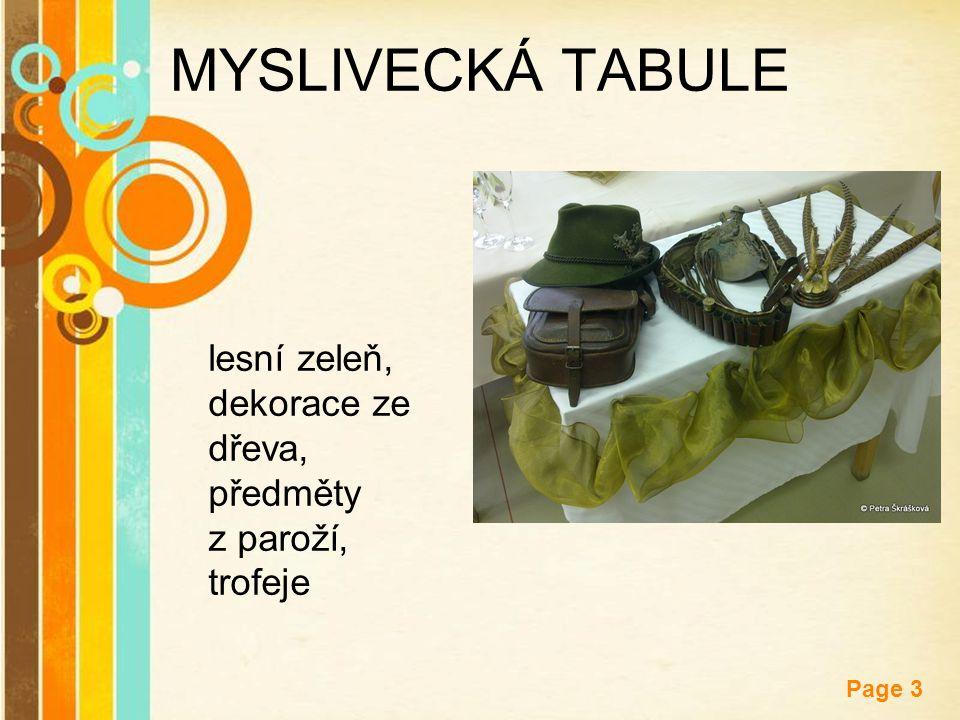 Free Powerpoint Templates Page 3 MYSLIVECKÁ TABULE lesní zeleň, dekorace ze dřeva, předměty z paroží, trofeje