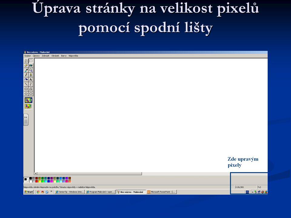 Úprava stránky na velikost pixelů pomocí spodní lišty