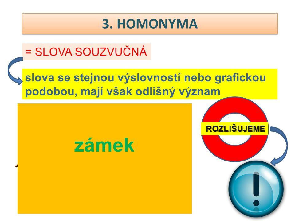 3. HOMONYMA = SLOVA SOUZVUČNÁ slova se stejnou výslovností nebo grafickou podobou, mají však odlišný význam zámek ROZLIŠUJEME