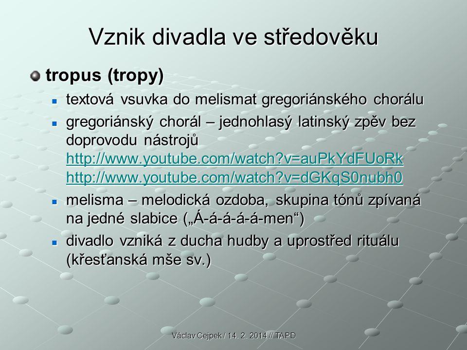 Vznik divadla ve středověku tropus (tropy) textová vsuvka do melismat gregoriánského chorálu textová vsuvka do melismat gregoriánského chorálu gregori