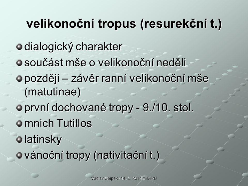 velikonoční tropus (resurekční t.) dialogický charakter součást mše o velikonoční neděli později – závěr ranní velikonoční mše (matutinae) první dochované tropy - 9./10.