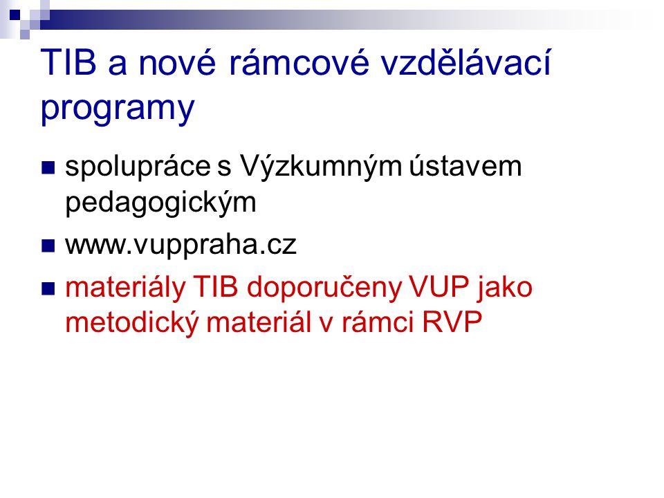 TIB a nové rámcové vzdělávací programy spolupráce s Výzkumným ústavem pedagogickým www.vuppraha.cz materiály TIB doporučeny VUP jako metodický materiá