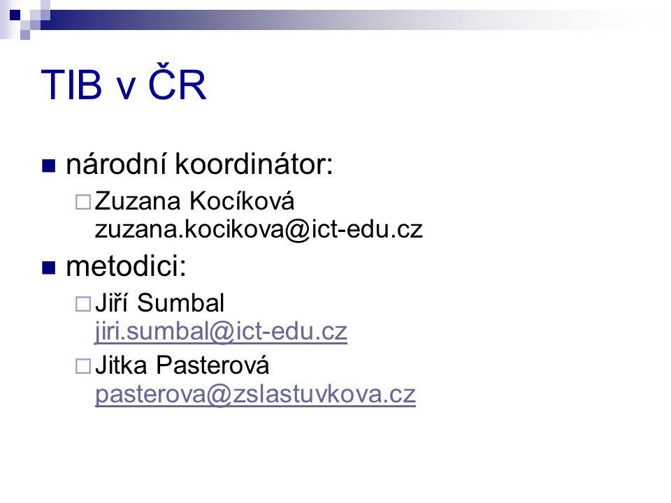 TIB v ČR národní koordinátor:  Zuzana Kocíková zuzana.kocikova@ict-edu.cz metodici:  Jiří Sumbal jiri.sumbal@ict-edu.cz jiri.sumbal@ict-edu.cz  Jit