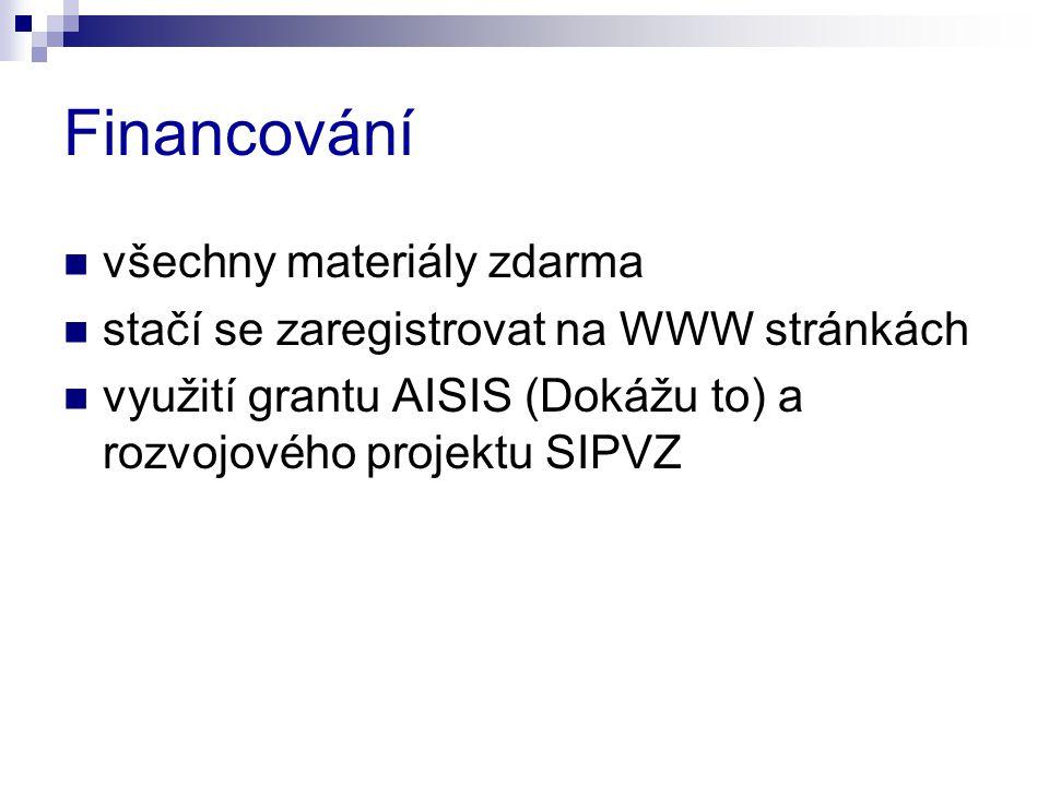 Financování všechny materiály zdarma stačí se zaregistrovat na WWW stránkách využití grantu AISIS (Dokážu to) a rozvojového projektu SIPVZ