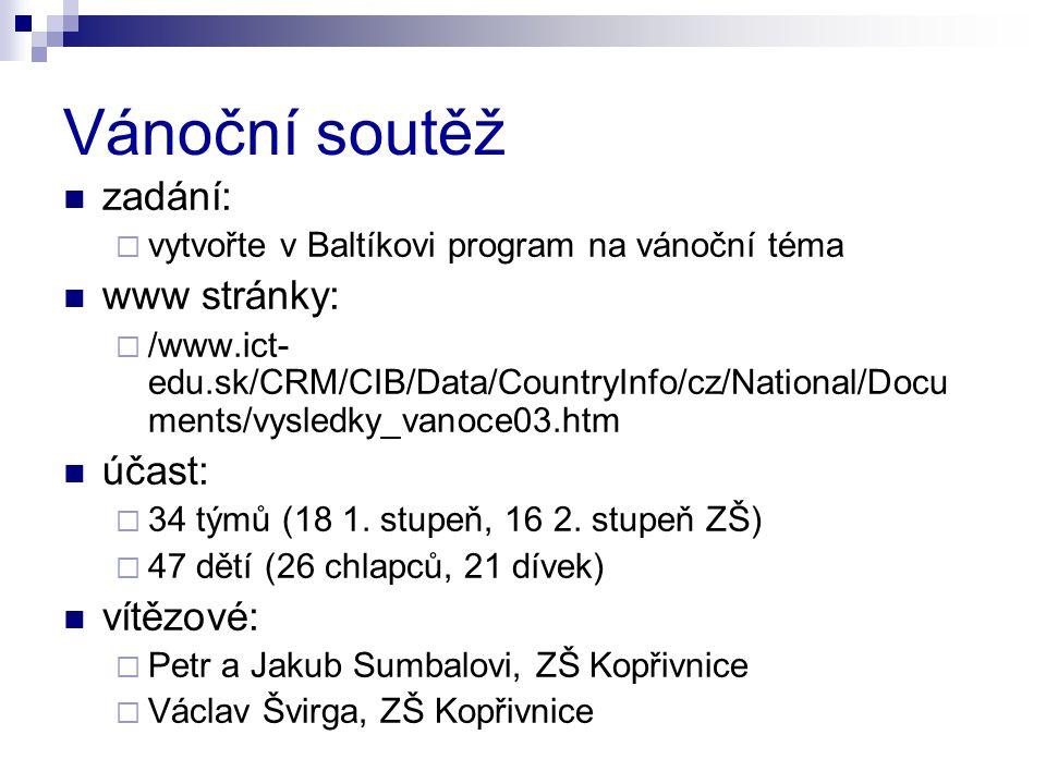 Vánoční soutěž zadání:  vytvořte v Baltíkovi program na vánoční téma www stránky:  /www.ict- edu.sk/CRM/CIB/Data/CountryInfo/cz/National/Docu ments/vysledky_vanoce03.htm účast:  34 týmů (18 1.