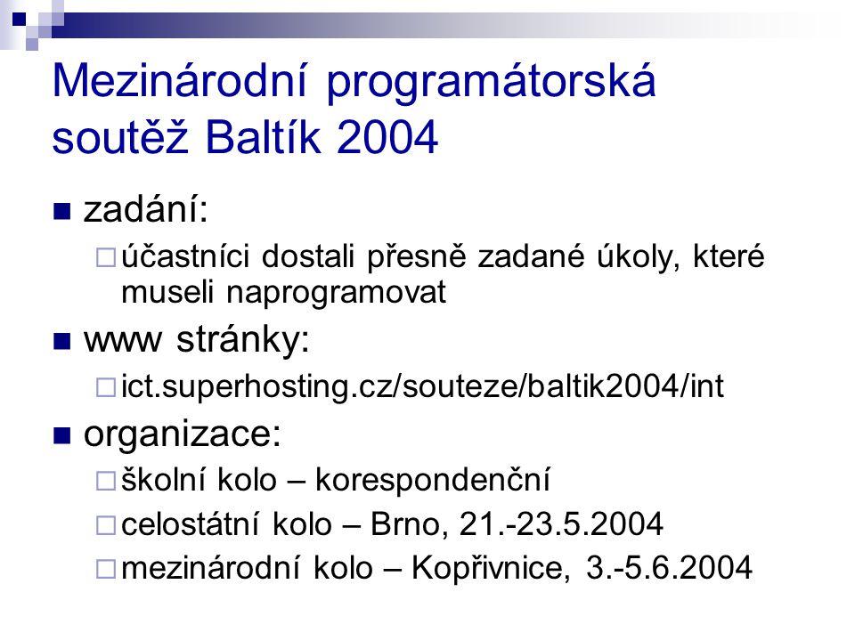 Mezinárodní programátorská soutěž Baltík 2004 zadání:  účastníci dostali přesně zadané úkoly, které museli naprogramovat www stránky:  ict.superhost