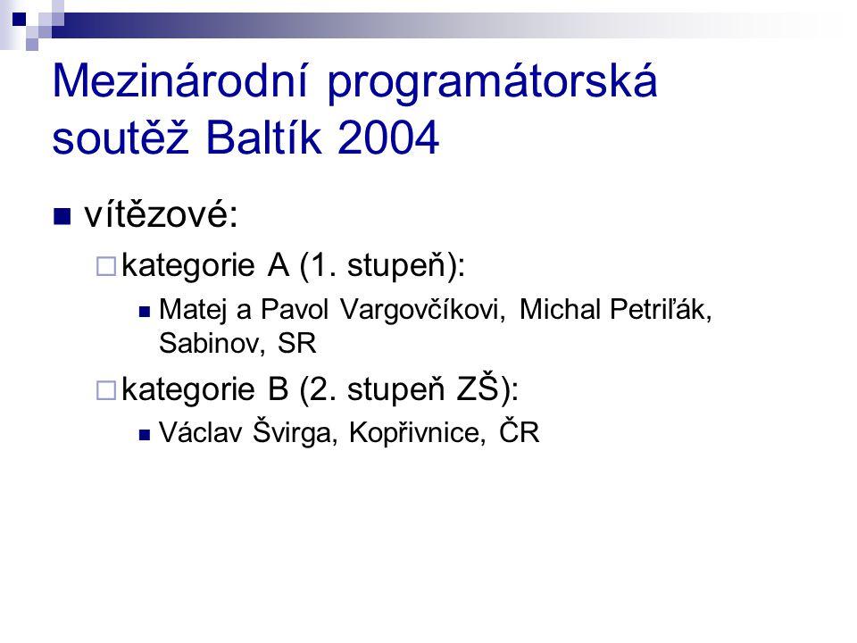 Mezinárodní programátorská soutěž Baltík 2004 vítězové:  kategorie A (1. stupeň): Matej a Pavol Vargovčíkovi, Michal Petriľák, Sabinov, SR  kategori