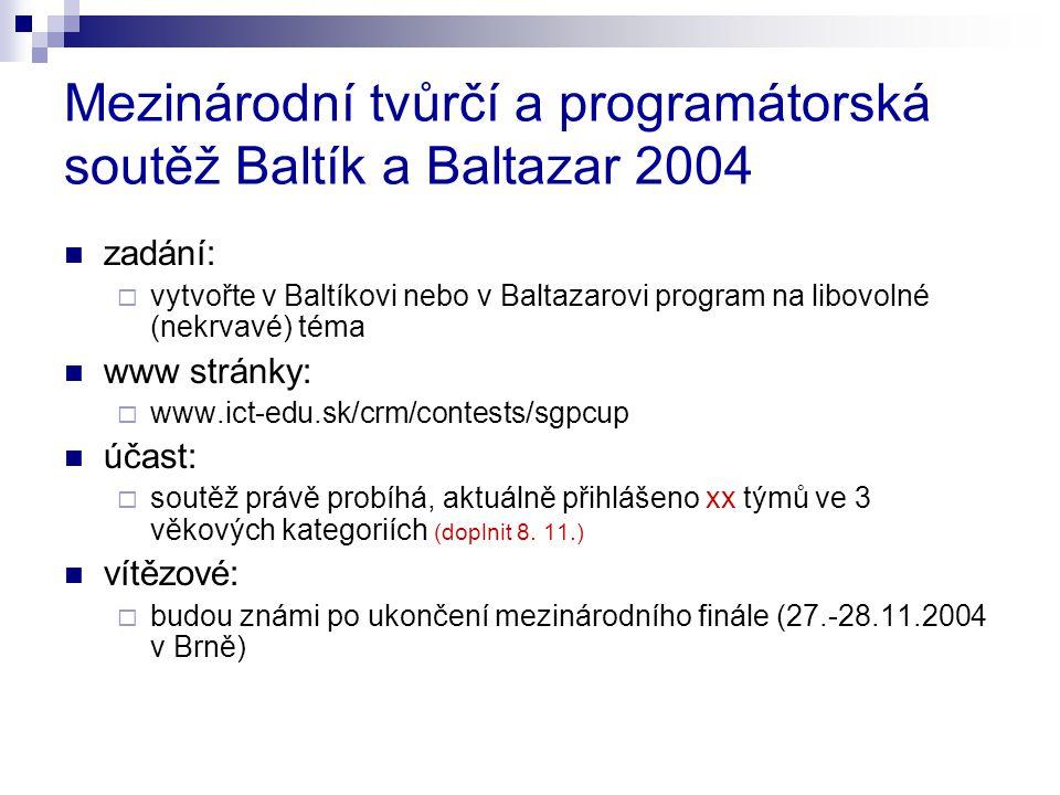 Mezinárodní tvůrčí a programátorská soutěž Baltík a Baltazar 2004 zadání:  vytvořte v Baltíkovi nebo v Baltazarovi program na libovolné (nekrvavé) téma www stránky:  www.ict-edu.sk/crm/contests/sgpcup účast:  soutěž právě probíhá, aktuálně přihlášeno xx týmů ve 3 věkových kategoriích (doplnit 8.