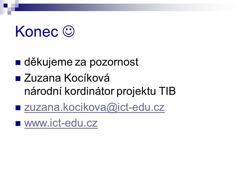 Konec děkujeme za pozornost Zuzana Kocíková národní kordinátor projektu TIB zuzana.kocikova@ict-edu.cz www.ict-edu.cz