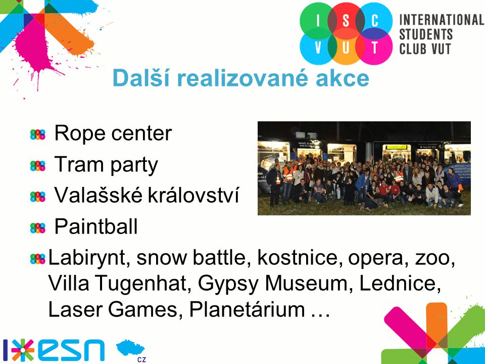 Další realizované akce Rope center Tram party Valašské království Paintball Labirynt, snow battle, kostnice, opera, zoo, Villa Tugenhat, Gypsy Museum, Lednice, Laser Games, Planetárium …