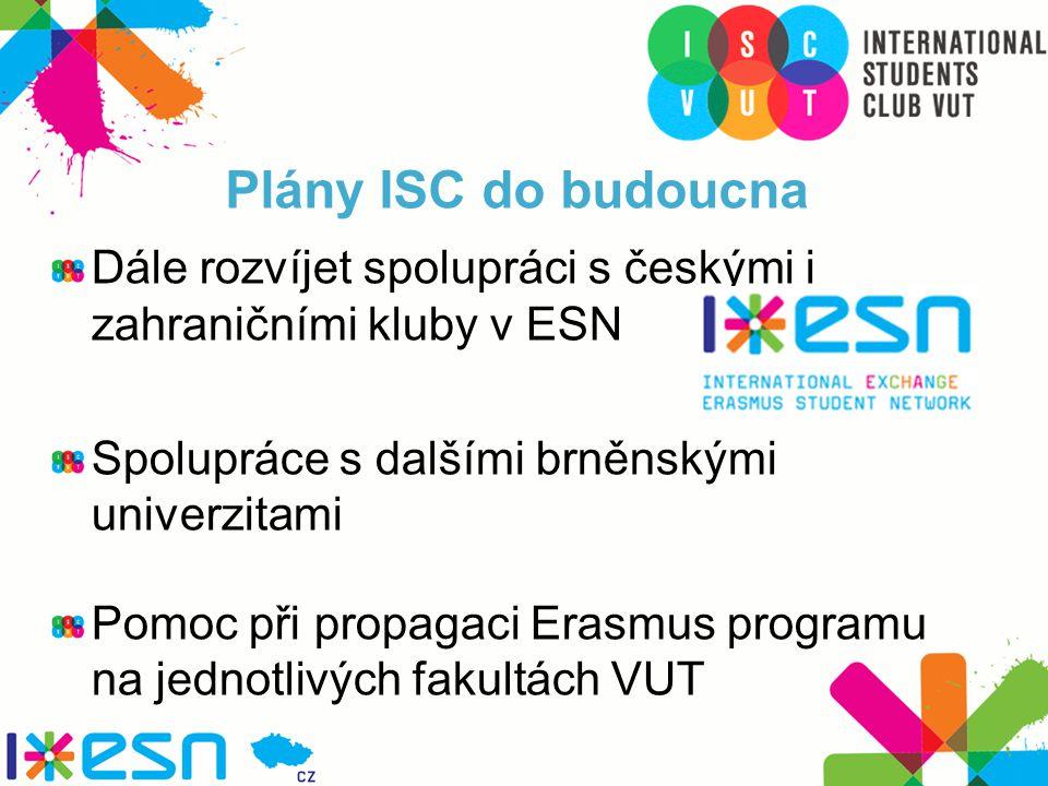 Plány ISC do budoucna Dále rozvíjet spolupráci s českými i zahraničními kluby v ESN Spolupráce s dalšími brněnskými univerzitami Pomoc při propagaci Erasmus programu na jednotlivých fakultách VUT