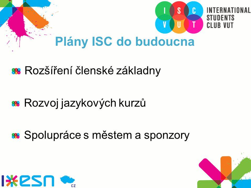 Plány ISC do budoucna Rozšíření členské základny Rozvoj jazykových kurzů Spolupráce s městem a sponzory