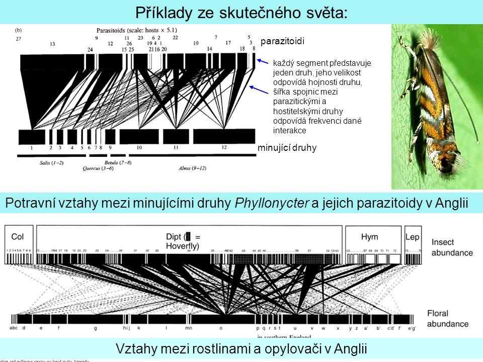 Každý bod představuje minující druh.Spojnice mezi nimi představuje sdílený druh parazitoida.
