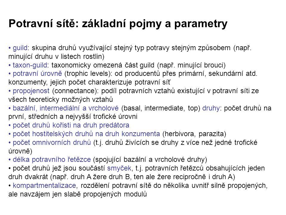 Potravní sítě: základní pojmy a parametry guild: skupina druhů využívající stejný typ potravy stejným způsobem (např.