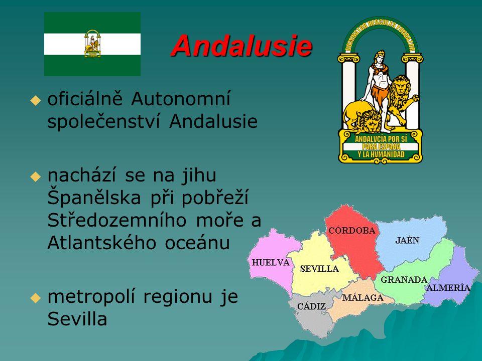 Andalusie   oficiálně Autonomní společenství Andalusie   nachází se na jihu Španělska při pobřeží Středozemního moře a Atlantského oceánu   metropolí regionu je Sevilla
