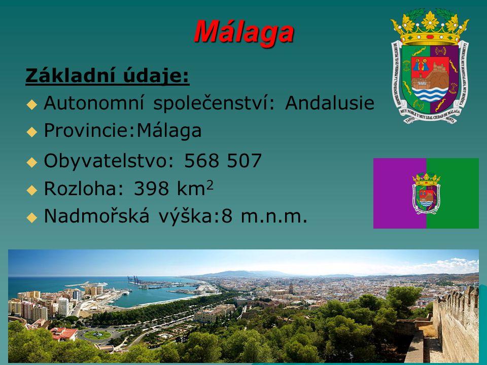 Málaga Základní údaje:   Autonomní společenství: Andalusie   Provincie:Málaga   Obyvatelstvo: 568 507   Rozloha: 398 km 2   Nadmořská výška:8 m.n.m.