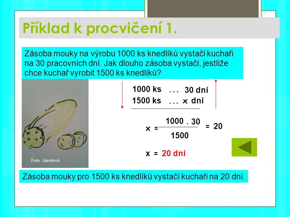 Příklad k procvičení 1. Zásoba mouky pro 1500 ks knedlíků vystačí kuchaři na 20 dní.