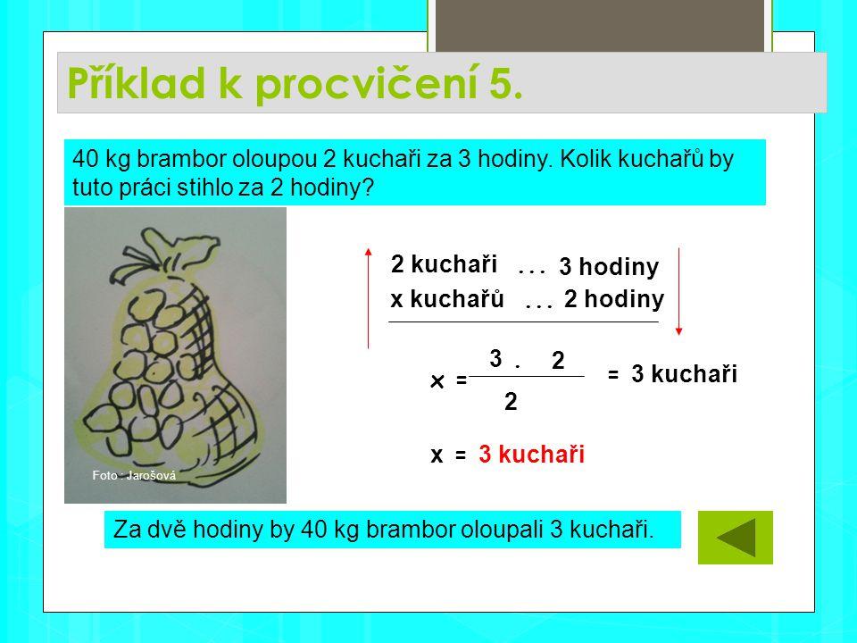 Příklad k procvičení 5. Za dvě hodiny by 40 kg brambor oloupali 3 kuchaři.