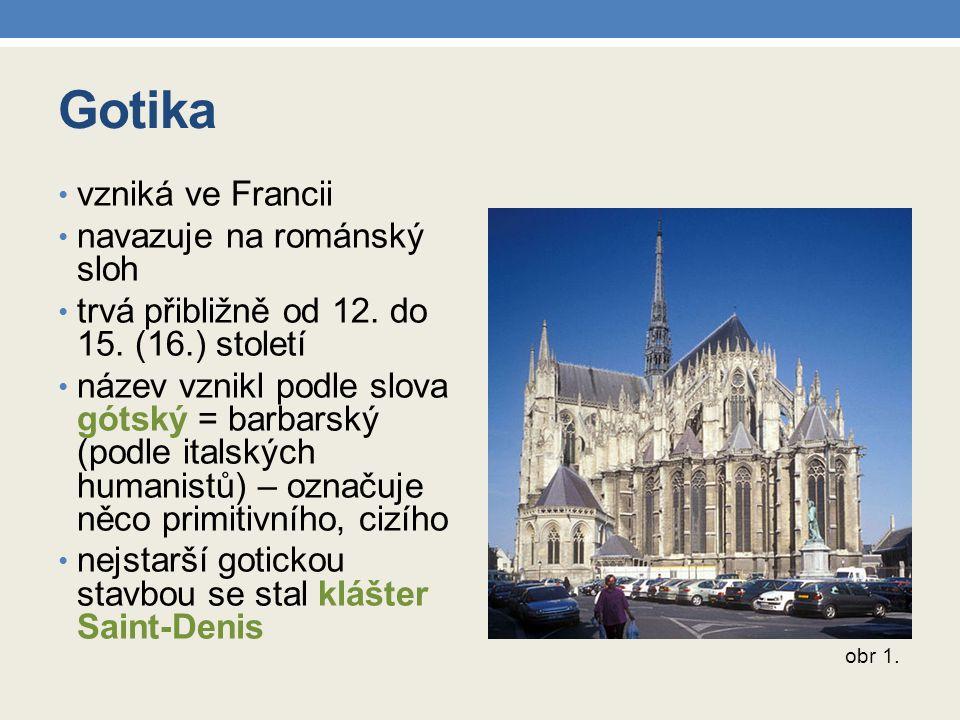 Gotika vzniká ve Francii navazuje na románský sloh trvá přibližně od 12. do 15. (16.) století název vznikl podle slova gótský = barbarský (podle itals