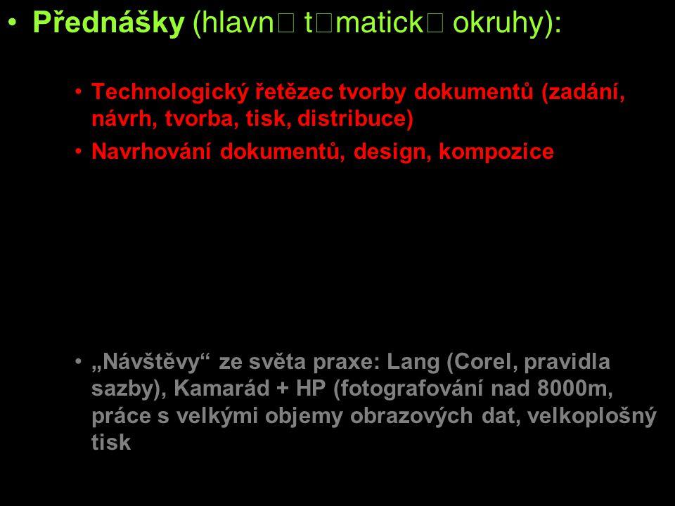 Přednášky  Prezentace a komunikace Technologický řetězec tvorby dokumentů (zadání, návrh, tvorba, tisk, distribuce) Navrhování