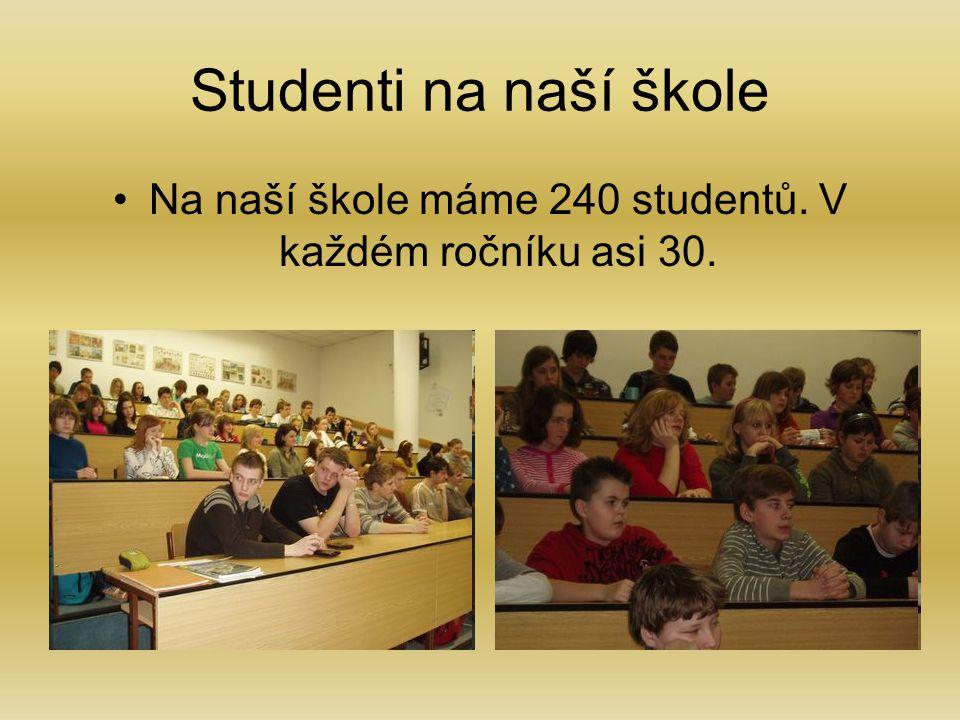 Studenti na naší škole Na naší škole máme 240 studentů. V každém ročníku asi 30.