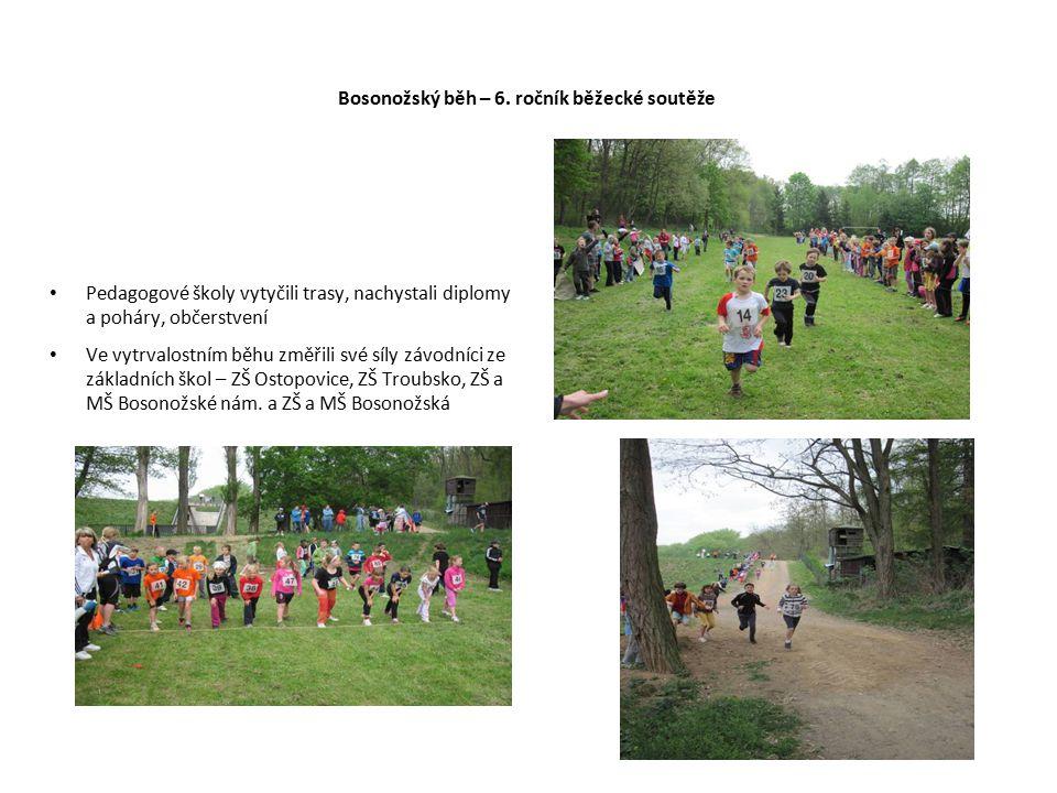 Bosonožský běh – 6. ročník běžecké soutěže Pedagogové školy vytyčili trasy, nachystali diplomy a poháry, občerstvení Ve vytrvalostním běhu změřili své