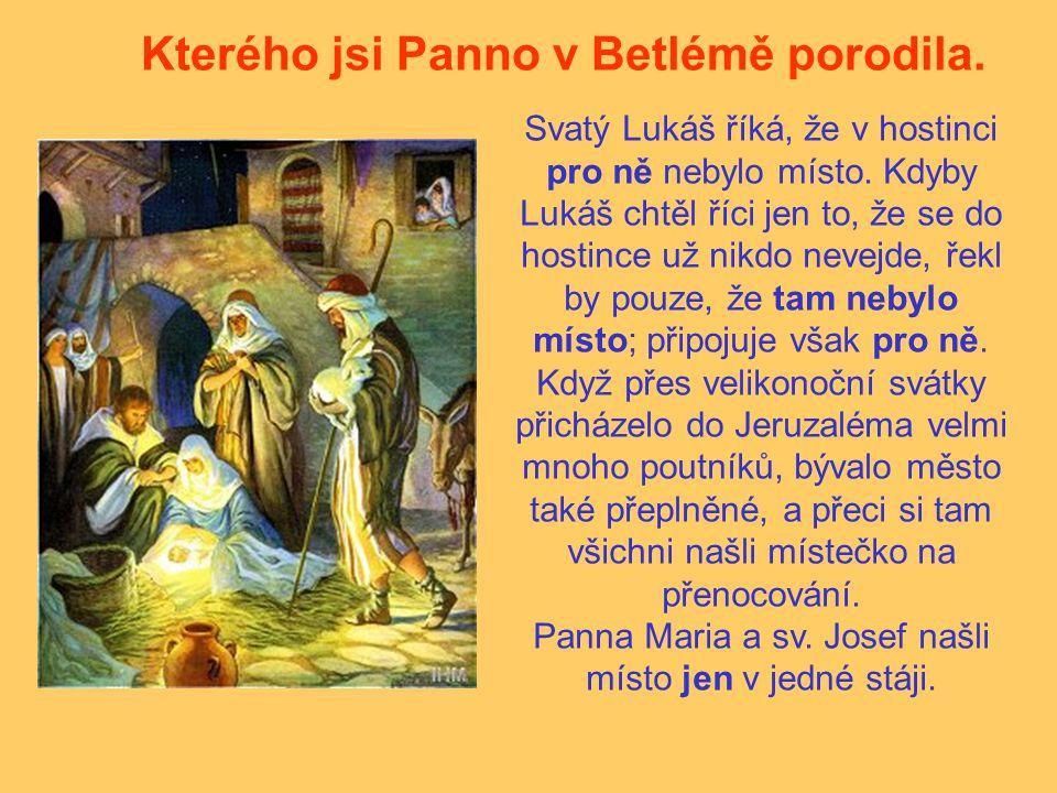 Kterého jsi Panno v Betlémě porodila. Svatý Lukáš říká, že v hostinci pro ně nebylo místo. Kdyby Lukáš chtěl říci jen to, že se do hostince už nikdo n