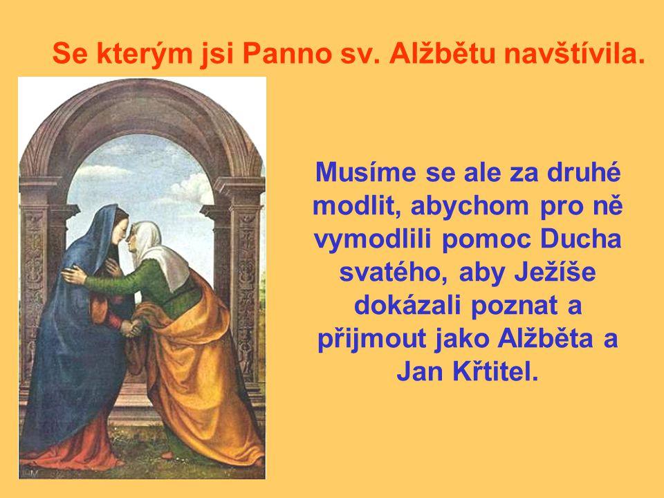 Se kterým jsi Panno sv. Alžbětu navštívila. Musíme se ale za druhé modlit, abychom pro ně vymodlili pomoc Ducha svatého, aby Ježíše dokázali poznat a