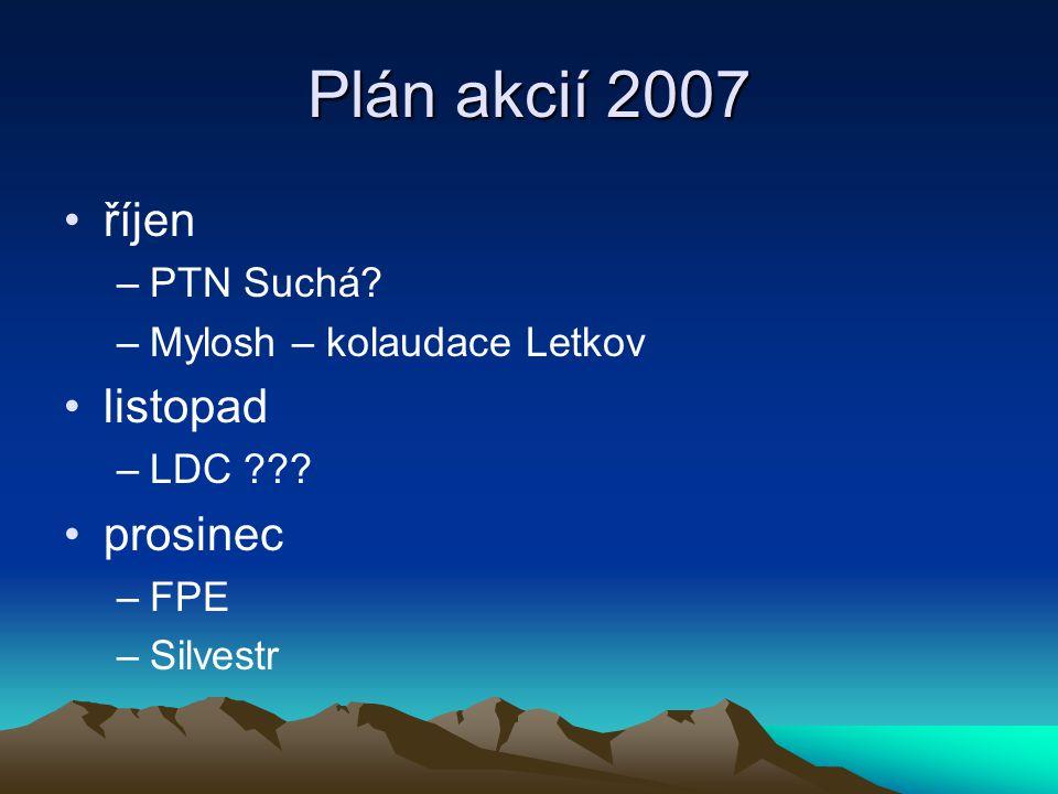 Plán akcií 2007 říjen –PTN Suchá. –Mylosh – kolaudace Letkov listopad –LDC .