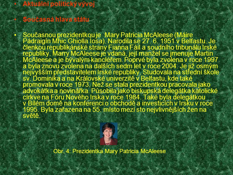 Aktuální politický vývoj Současná hlava státu Současnou prezidentkou je Mary Patricia McAleese (Máire Pádraigín Mhic Ghiolla Íosa). Narodila se 27. 6.