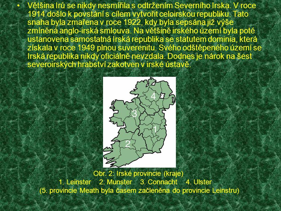 Administrativní členění Tradičně se Irsko člení na čtyři provincie (Leinster, Munster, Connacht, Ulster).