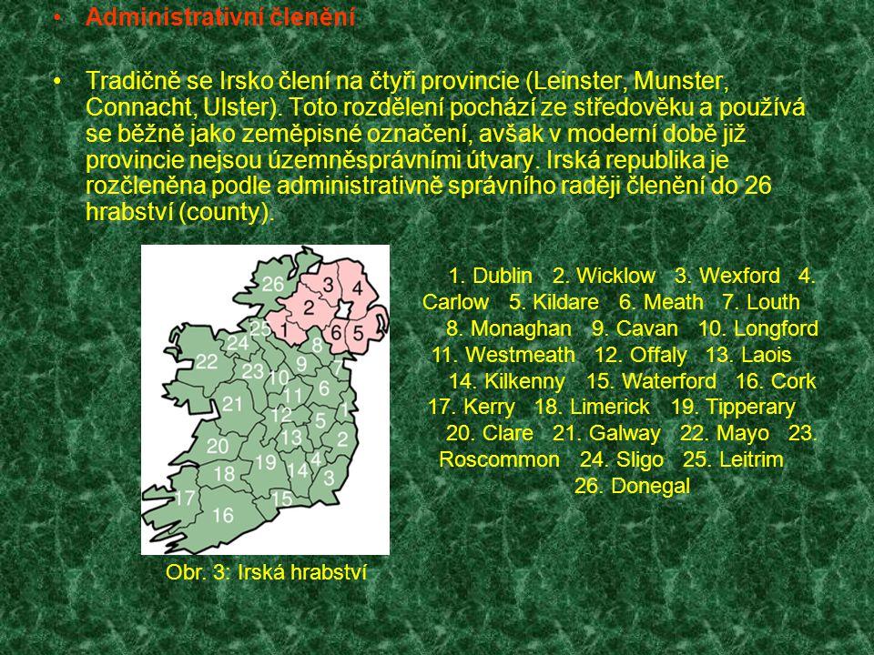Administrativní členění Tradičně se Irsko člení na čtyři provincie (Leinster, Munster, Connacht, Ulster). Toto rozdělení pochází ze středověku a použí