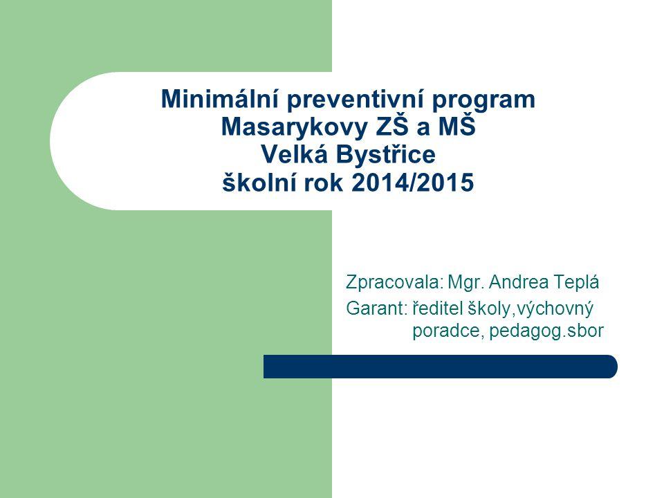 Minimální preventivní program Masarykovy ZŠ a MŠ Velká Bystřice školní rok 2014/2015 Zpracovala: Mgr. Andrea Teplá Garant: ředitel školy,výchovný pora