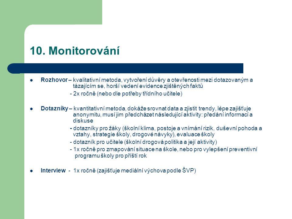 10. Monitorování Rozhovor – kvalitativní metoda, vytvoření důvěry a otevřenosti mezi dotazovaným a tázajícím se, horší vedení evidence zjištěných fakt
