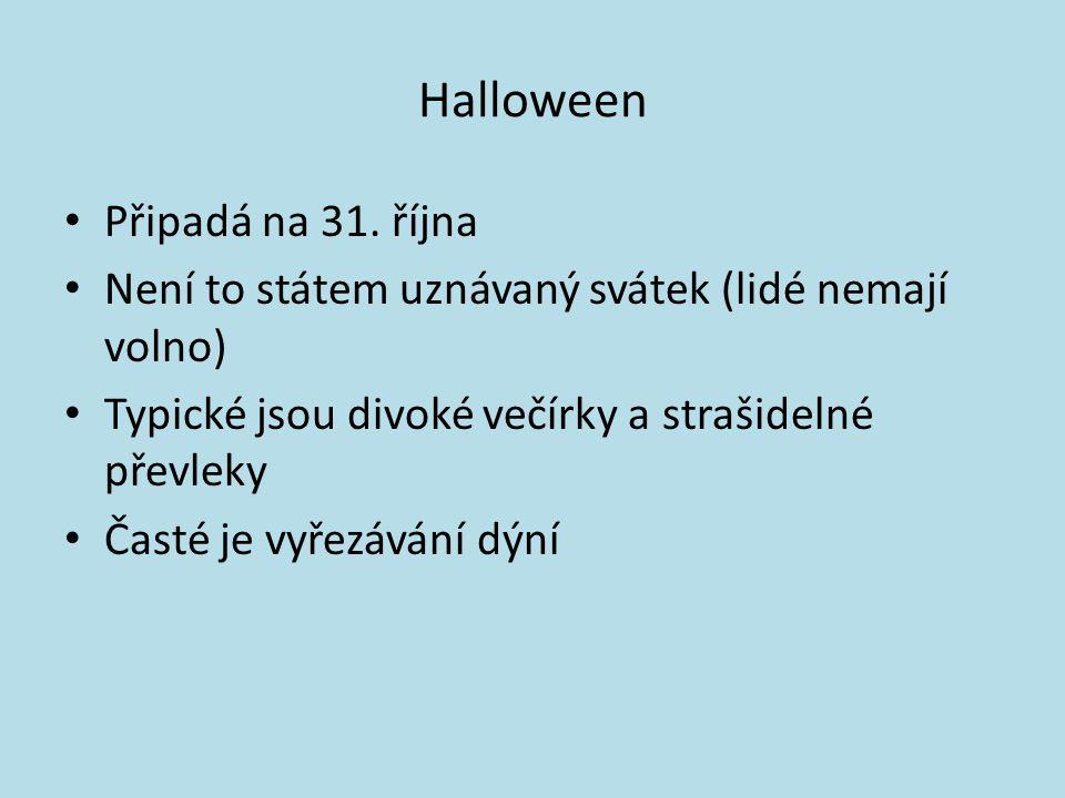 Halloween Připadá na 31.