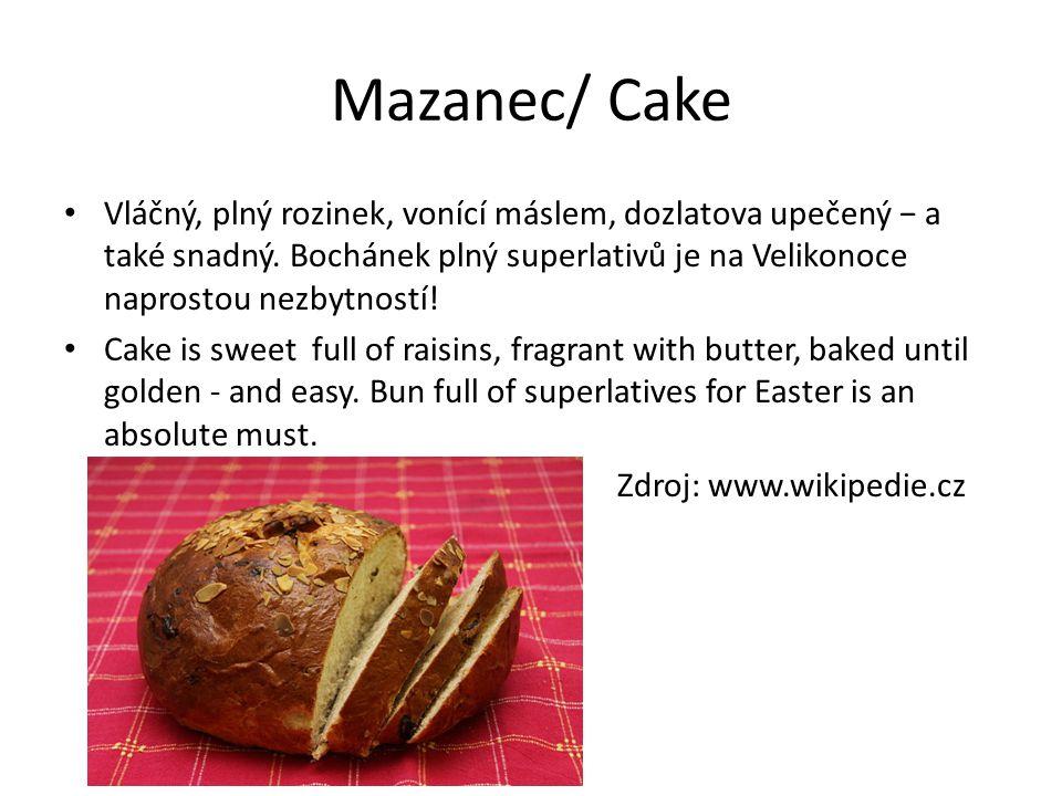 Eggs spread Vajíčková pomazánka - It´s a traditional Czech food usually does after Easter, because the eggs is always a surplus - Je to tradiční české jídlo, většinou se dělá po velikonocech, protože vajíček je vždy přebytek - Makes off the eggs, onion, butter, mustard, pepper, chives can sprinkle - Dělá se z vajíček, cibule, másla, hořčice, pepře, muže se posypat pažitkou - This spread to all tastes and is easy to prepare - Tato pomazánka chutná všem a je lehká na přípravu Roasted kid Pečené kůzle We eat baken kid for lunch My jíme kůzle na velikonece k obědu Zdroj wikipedia.org